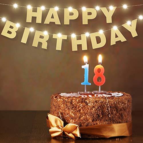 Happy Birthday Buchstaben Banner Gold Happy Birthday Girlande Dekoration und 9,8 Fuß Kupferdraht Lichter Geburtstag Banner Lichterkette für Geburtstag Party Dekor Zuhause Büro