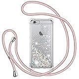 Funda Glitter Liquida con Cuerda para iPhone 6 Plus/iPhone 6s Plus, Glitter Cristal Suave Silicona TPU Bumper Protector Carcasa, Brillante Arena Movediza con Colgante Ajustable Cordón Case -Oro Rosa