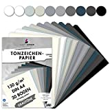 MarpaJansen Tonzeichenpapier Grautöne Mix, 10 Farben, DIN A4, 30 Bogen, 130 g/qm