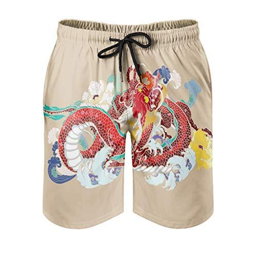 kikomia - Pantalones cortos de playa para hombre, diseño japonés, color rojo, diseño de dragón, flores florales, estampado Ukiyoe, fantásticos pantalones de surf con bolsillos y forro de malla, Hombre, blanco, 6XL