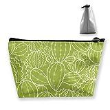 Bolsa de almacenamiento para cosméticos trapezoidales, con textura de plantas de cactus, con cremallera, multifuncional, para viajes, compras, monedero, organizador de regalo