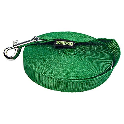 Schecker Schleppleine 15 m grün Suchleine Fährtenleine in tollen Farben mit wertigem Glanzeffekt Aus reißfestem, strapazierfähigem Polypropylen Lichtecht, UV-beständig, Nässe-abweisend