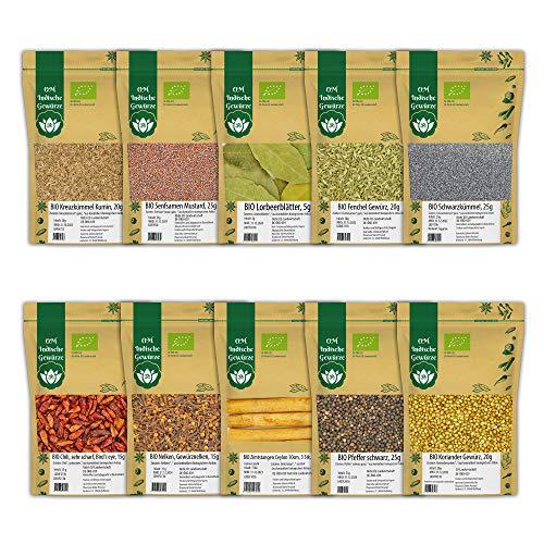 BIO Indische Gewürze 10er STARTER SET 1 Indische Küche - Kreuzkümmel, Senfsamen, Lorbeerblätter, Fenchel, Schwarzkümmel, Chili, Nelken, Zimt, Pfeffer, Koriander, ca. 175g