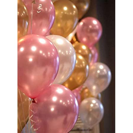 Party Propz Pink Golden White Metallic Latex Balloons Pack-51Pcs for Girls Kids Women Birthday, Baby Shower, Unicorn, Princess, First,2nd Years Decorations Balloons Supplies Combo Kit