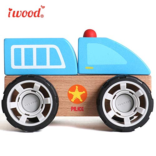 Image of iwood Toys Cars for 3-6 Year Old Wooden Toddler Toys for Kids[Police Car]
