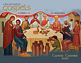 "Catholic Religious Liturgical Wall Calendar 2020: A Year of Art with The Gospels Mount Tabor Studios Icons Monthly 11""x8.5"" 