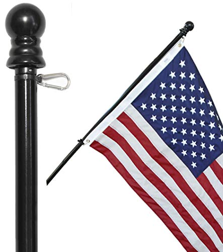 American Signature 6 ft Aluminum Tangle Free Spinning Flag Pole with Carabiners - New Enhanced Design Outdoor Wall Mount Flag Pole for Residential or Commercial (Black, 6)
