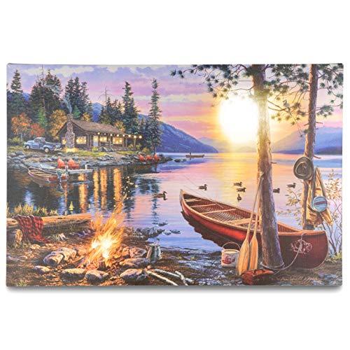 Nexos LED Wandbild Leinwandbild mit Beleuchtung Fotodruck Sonnenuntergang 40x60 cm Kunstdruck Leuchtbild Effekt-LED Herbstdeko Sonnenuntergang Bergsee