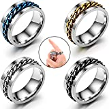 4 Pieces Ring Bottle Opener Finger Bottle Opener Stainless Steel Beer Bottle Opener Rotatable Chain Ring Bottle Opener for Party Kitchen Shop Supplies, 4 Colors