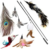 The string on the wand is elastic and sturdy which allows a lot of bounce and jump action, giving your cats more fun and exercise. PRODUCT DESCRIPTION SIZE Total wand length 80cm, 33.5inch ,5 feather Refills. Material: non-toxic natural feathers The ...
