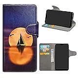 HHDY Asus Zenfone Max Pro (M2) Leder hülle, Painted Muster Wallet Handyhülle mit Kartenfächer/Standfunktion Hülle Cover für Asus Zenfone Max Pro (M2) ZB631KL,Sailboats und Moon