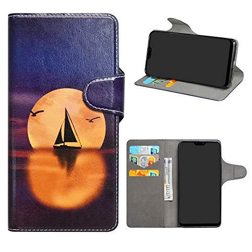 HHDY ASUS Zenfone Max PRO (M2) Cover, Flip Wallet Case PU Pelle con Carte Slot Credito Portafoglio Supporto Stand Schema Custodia per ASUS Zenfone Max PRO (M2) ZB631KL,Sailboats & Moon