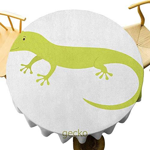 VICWOWONE - Mantel de reptil (50 pulgadas), diseño de lagarto australiano con texto en inglés 'Sonriente para niños', símbolo temático de safari, apto para cocina, pistacho, color blanco