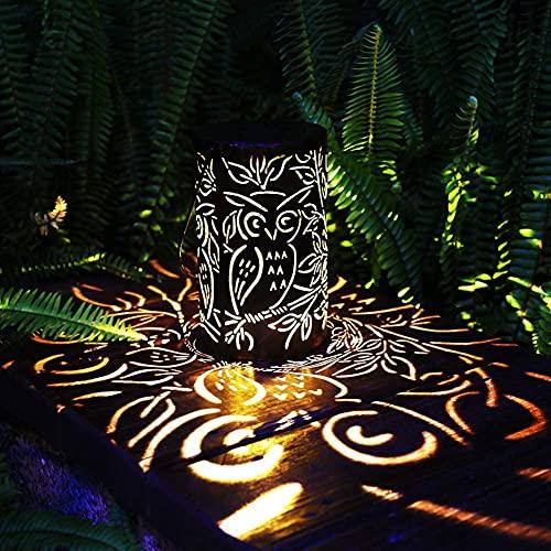 CRZJ Linterna Solar, linternas Colgantes solares al Aire Libre, Linterna Solar Retro de Metal con Mango, Luces de Mesa de decoración de jardín para Camino de Patio