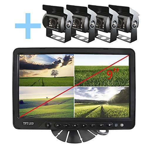 """YATEK Kit para Marcha atrás o visión Trasera de 4 cámaras para vehículos con visión Nocturna + Monitor de 9"""" TFT con pie y Parasol"""