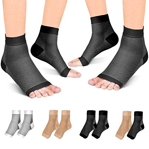Fondenn Plantar Fasciitis Sock (2 Pairs), Compression Foot Sleeves with Heel Arch & Ankle Support, Foot Care Compression Sleeve for Men & Women