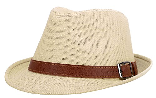 Jasmine Fedora Hat Men Miami Structured Straw Hat w/PU Leather Band,Natural,L/XL
