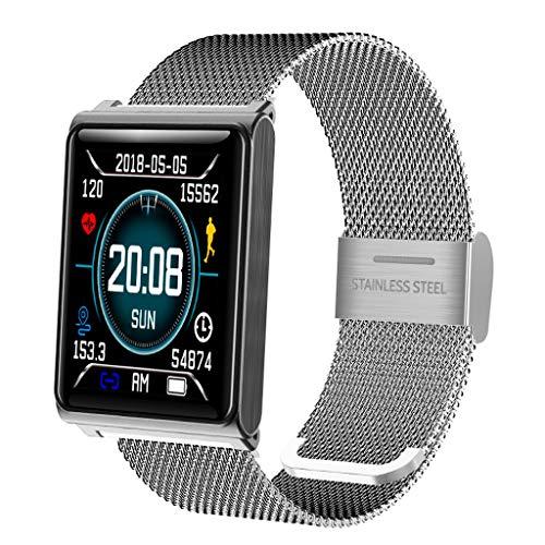 ZSP Smart Watch sporthorloge, kleur armband, multi sportmodus, waterdicht IP67, hartslagmeter, alarm, hartdrukbewaking, zilverkleurig