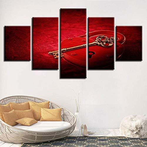 BDFDF Cuadro En Lienzo 5 Pieza Pintura En Lienzo Llave De Oro De Bloqueo Rojo Arte De La Pared 5 Piezas Imagen Impresión En Lienzo Imagen De Pared Decoración del Hogar