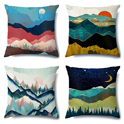 Artscope Cozy Cushion Covers, Pack of 4 Soft Velvet Mountains Pattern Decorative Throw Pillow Covers Cases for Sofa Couch Bedroom Living Room Home Decor 45x45CM