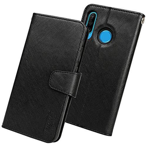 Migeec Handyhülle Kompatibel mit Huawei P30 Lite Leder Hülle Tasche Flip Cover Schutzhülle - Schwarz