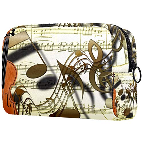 Girl Cosmetic Bags Women Makeup Bag Toiletry Organizer Pouch with Zipper 7.3x3x5.1 Inch Violin Music Notes