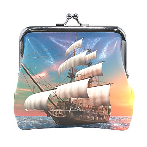 COOSUN Piraten-Segel BoatLeather Geldbörse Schnappverschluss-Kupplungs-Münzen-Mappe Klein Mehrfarbig