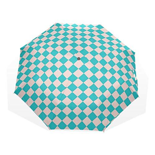 LASINSU Paraguas Resistente a la Intemperie,Vintage Retro 50S 60S Inspirado Azulejos de Cocina Formas de Diamante Imprimir,Fitness Entrenamiento Fuerte Grunge Print