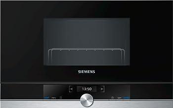 Siemens-lb BE634RGS1 iQ700 - Microondas integrable / encastre sin marco con grill, 21 L, 900 W / 1300 W, color negro con acero inoxidable