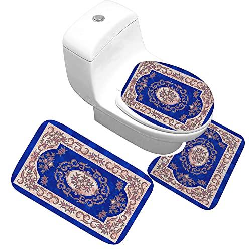 Conjunto de 3 piezas de esteras de asiento de asiento de inodoro clásico sin deslizamiento Absorbente Baño Mats de puerta de baño suave Flannel Baño Alfombras (Color : 07)