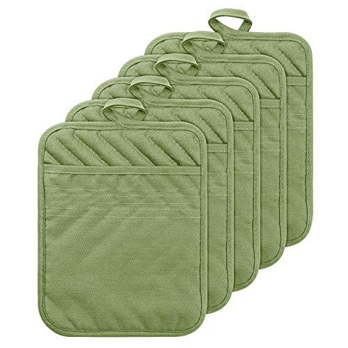 GROBRO7 5Pack Pocket Pot Holders Cotton Heat Resistant Potholder Multipurpose Hot Pads Machine...