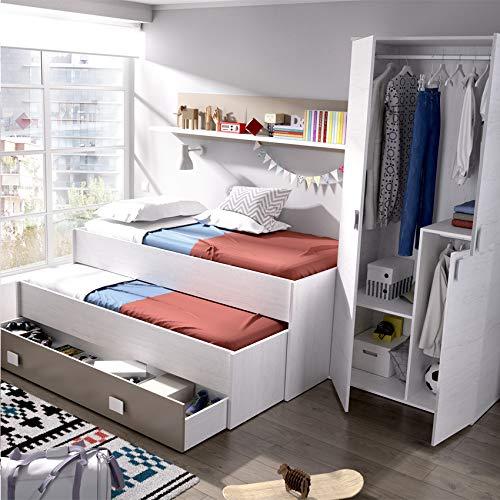 HABITMOBEL Pack Dormitorio Juvenil, Cama Nido 2 cajones + Armario de 3 Puertas 90 cm,Blanco Artico
