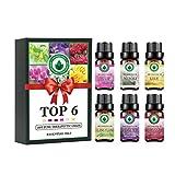 Set de aceites esenciales florales, aceites aromáticos con aromaterapia Top 6 aceites esenciales de grado superior terapéuticos 100% puros - Set de regalo 6 / 10ml