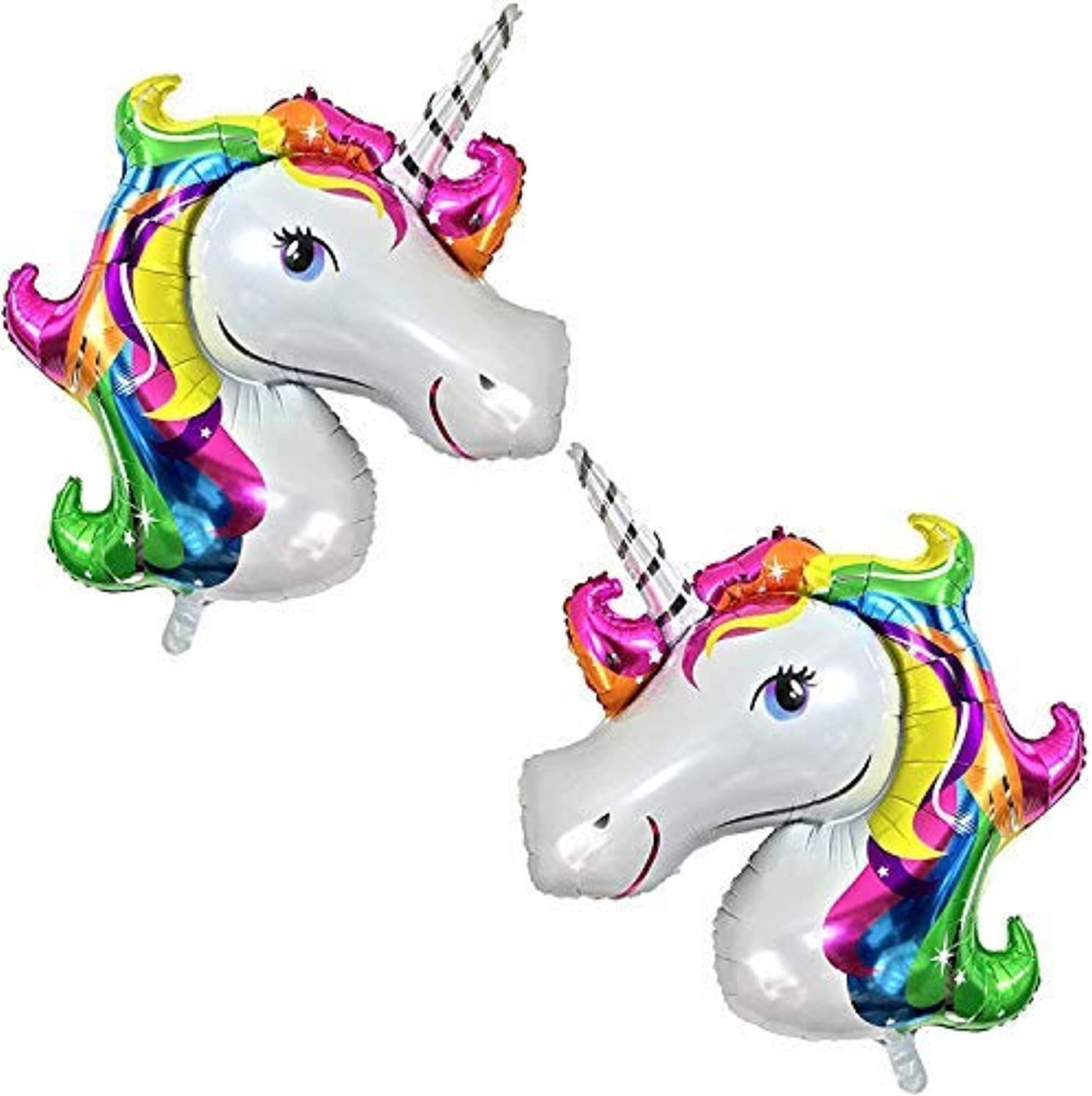 Rainbow Unicorn Balloons Birthday Backdrop  Large, Pack of 2   Mylar Foil Balloon Decorations Supplies Kit   Great Unicorn Themed Bday Party Favor, Baby Shower, Home Office Décor