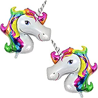 Rainbow Unicorn Balloons Birthday Backdrop – Large, Pack of 2 | Mylar Foil Balloon Decorations Supplies Kit | Great for Unicorn Themed Bday Party Favor, Baby Shower, Home Office Décor