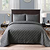 Exclusivo Mezcla 3-Piece Queen Size Quilt Set with Pillow Shams, Grid Quilted Bedspread/Coverlet/Bed Cover(96x88 Inches, Steel Grey) -Soft, Lightweight and Reversible