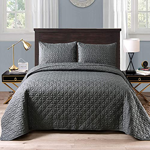 Exclusivo Mezcla 3-Piece King Size Quilt Set with Pillow Shams, Grid Quilted Bedspread/Coverlet/Bed Cover(96x104 Inches, Steel Grey) -Soft, Lightweight and Reversible