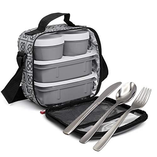 PracticFood Isolierte Thermo Kühltasche Mittagessen Lunch-Tasche Lunchbox Tragetasche Gekühlt mit 4 Stabilen Behältern und Besteck Inbegriffen (BCN)