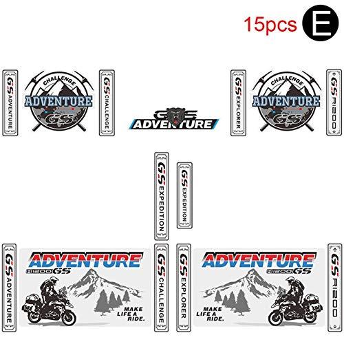 Tronco de la Motocicleta 1200 de la Cola de Aluminio Equipaje Lado de la Caja for BMW R 1200 GS R1200 GS Adventure ADV Pegatinas 2014 2015 2017 2016 (Color : E)