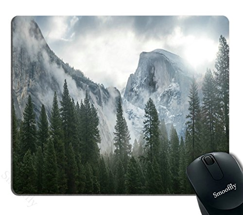 Smooffly Forest Gaming Mouse Pad,National Park Nature Mountain Trees Mist Mouse Pad for Office 9.5 X 7.9 Inch (240mmX200mmX3mm)