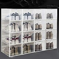 スタック可能な 16 パック 靴ボックス,省スペース 折りたたみ式クリアプラスチック靴オーガナイザー,ムーティ-組み合わせ 靴ラックキャビネット ベッドルーム用,クローゼット-C 33.7x23.3x15.3cm