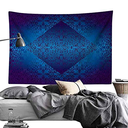 Jacoby Psychedelic Decorative Wandteppiche Victorian Ombre Seamless Classic Design with Little Light in The Middle Artwork Wall Hanging W59 x L59 Blue Indigo Royal Blue