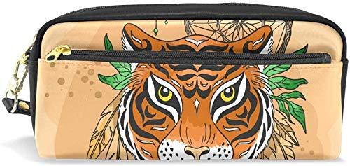 Monedero Dream Catcher Tiger Estuche de lápices para niñas y niños Estuche de lápices papelería Bolsa de cosméticos Monedero de Gran Capacidad Mujeres a Prueba de Agua