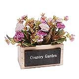 VKTY Flores artificiales en maceta, flores artificiales de color lila en macetas, arreglo floral moderno para decoración del hogar, oficina, decoración de escritorio