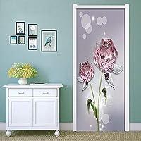 3DドアステッカーHdプリント屋内ドア壁画壁紙取り外し可能な自己接着ビニール壁デカールポスターDiyアーティスト家の装飾抽象花PVC壁画-100cmx215cm