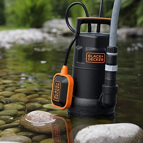 Black+Decker BXUP750PTE Pompe Submersible Multifonction Eaux Claires et Eaux Sales (750 W, Portée Ma x 13000 L/H, Prévalence Max 8 M)