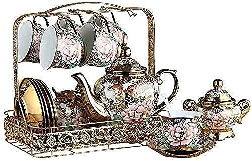 Juego de té chino Teteras por la tarde té infusor de té tetera 21Piece-Set Peony Bone China Taza de café Set Europeo Vintage Tetera Tetera de té y taza de té y platillo Set Palacio