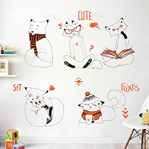Diy Cartoon Stickers Muraux Peints À La Main Fox Chambre Chambre Salon Home Decor Amovible Chambre d'enfant Garde-robe Animal Stickers