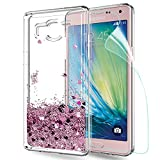 LeYi Coque Galaxy A5 Etui avec Film de Protection écran, Fille Personnalisé Liquide Paillette Flottant Transparente 3D Silicone...