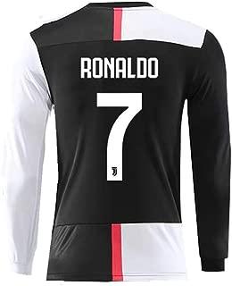 #7 Ronaldo Shirt Juventus Long Sleeve Home Soccer Tshirt for Mens Black/White